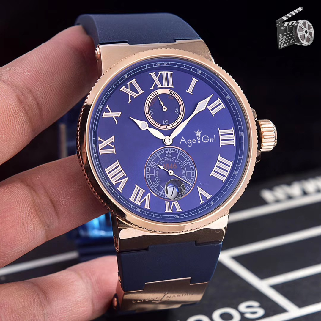 Classic  New Men Rose Gold Black Blue White Automatic Mechanical Stainless Steel Sapphire Diver Maxi Chronometer Watch AAA+
