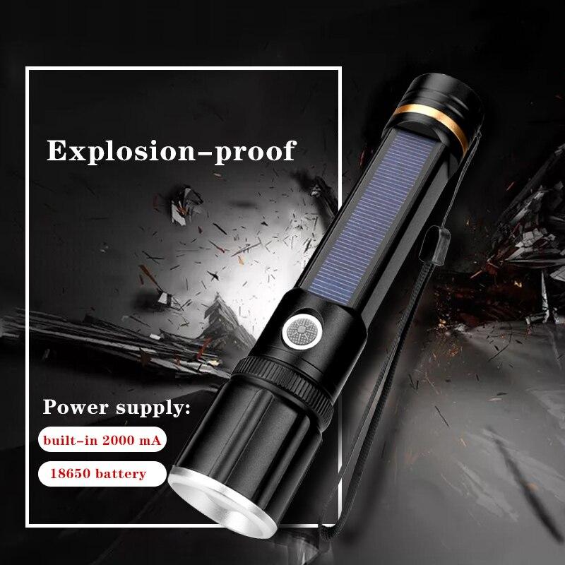 Linterna Solar LED USB recargable Super brillante mango linterna 3 modos Zoomable 18650 batería incorporada antorcha luz al aire libre