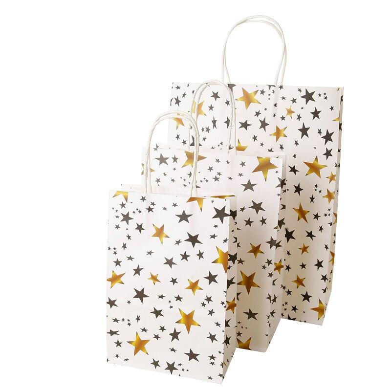 40 Uds. Bolsa de papel dorada a rayas Chevron Star Dot Candy bolsas de regalo graduación boda niños fiesta Favor galletas Cupcake bolsas