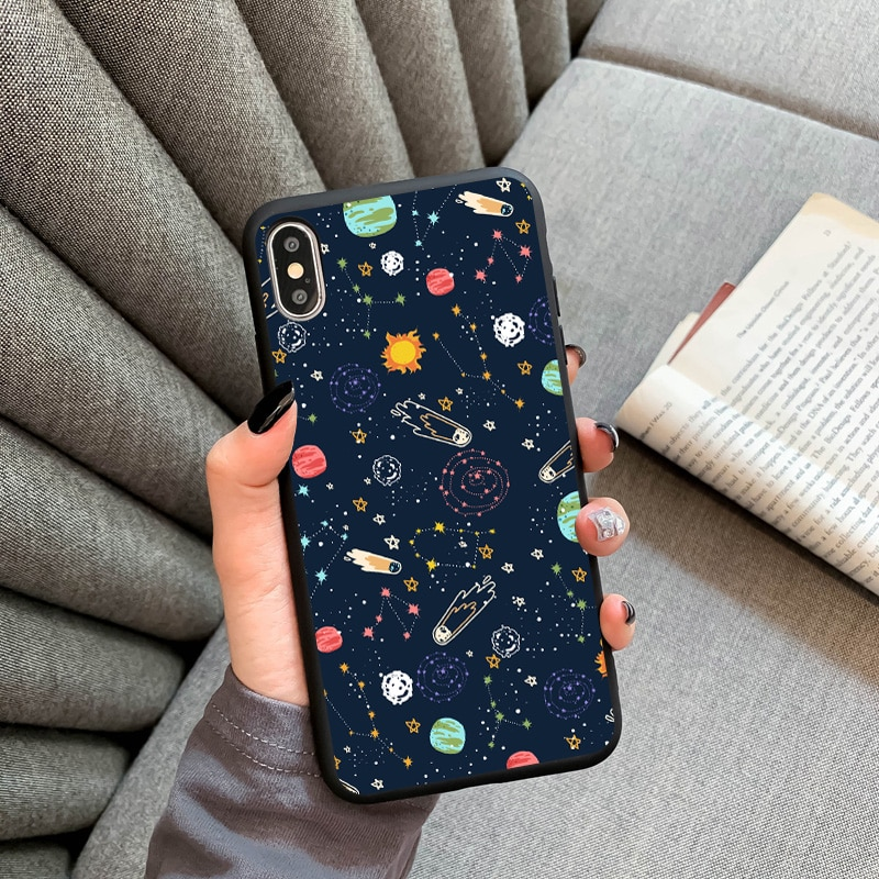 AliExpress - Outer Space Planet Stars Moon Spaceship Soft Silicone Matte Case Fundas For iPhone 12 11 Pro Max 6 6S 8 Plus X 7 Plus XS Max SE2
