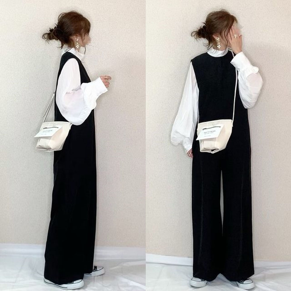 Black Jumpsuit Women Trousers Casual Plain Ladies Fashion Mid Waist Skinny All-in-One Loose Wide Leg