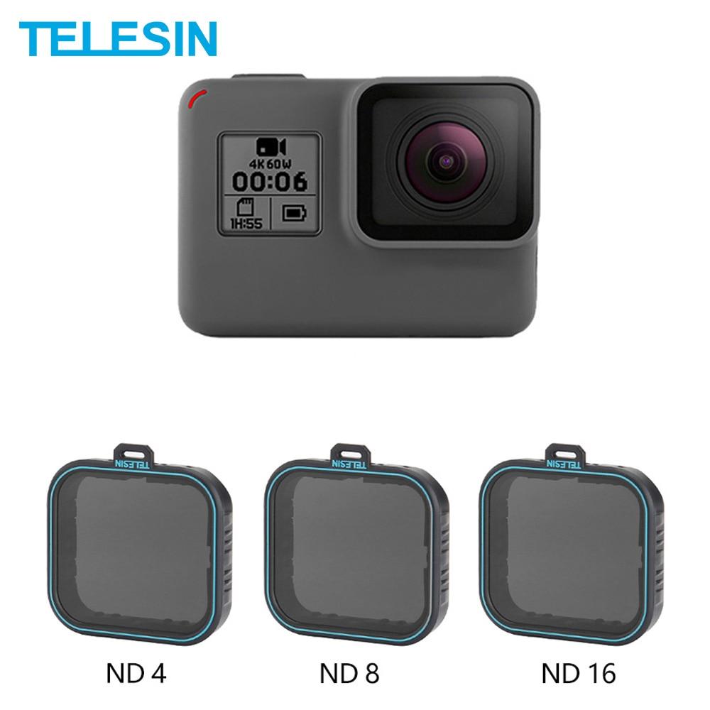 TELESIN-مجموعة عدسات الكاميرا ، مجموعة من 3 عدسات واقية (ND4 8 16) ، مرشح كثافة محايدة لـ Gopro Hero 5 Hero 6 7 ، ملحقات سوداء