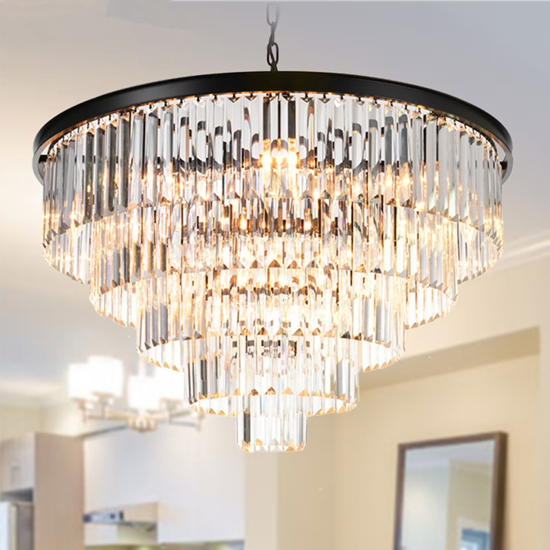 Modern Crystal Chandeliers Luminaria Hotel Lobby Black Round square Luxury Chandelier for living room bedroom Droplight