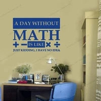 math wall decal a day without math quote vinyl sticker sign education print classroom decor math student gift poster cx781