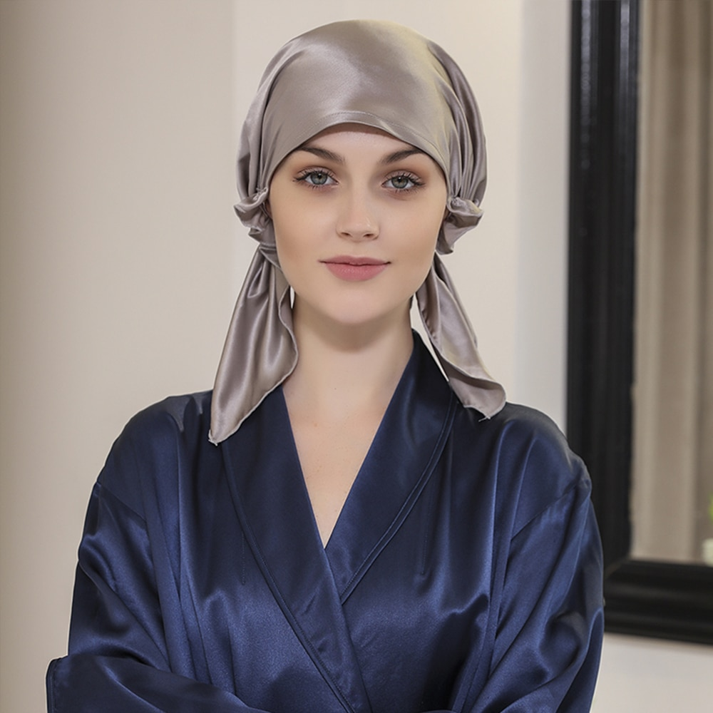100% Mulberry Silk Sleeping Cap Night Silk Sleep Cover for Women Solid 19 Momme with Elastic Ribbon
