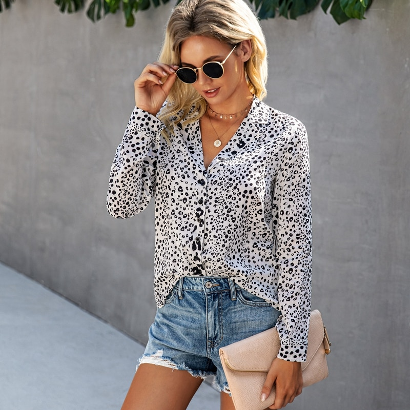 2021 Spring Summer New Ladies Print Casual Blouse Leopard Button Turn Down Collar Long Sleeve Street Style Blouses