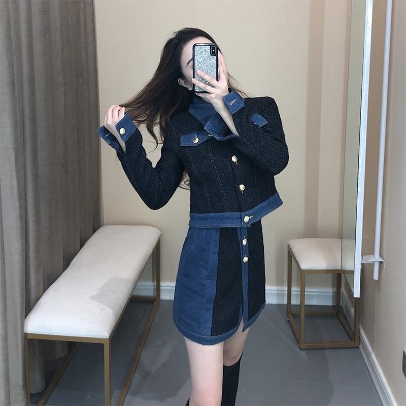 TVVOVVINStitching Denim Lapel Single-breasted cintura mujer Chaqueta corta falda traje Simple moda 2019 otoño invierno nuevo F117