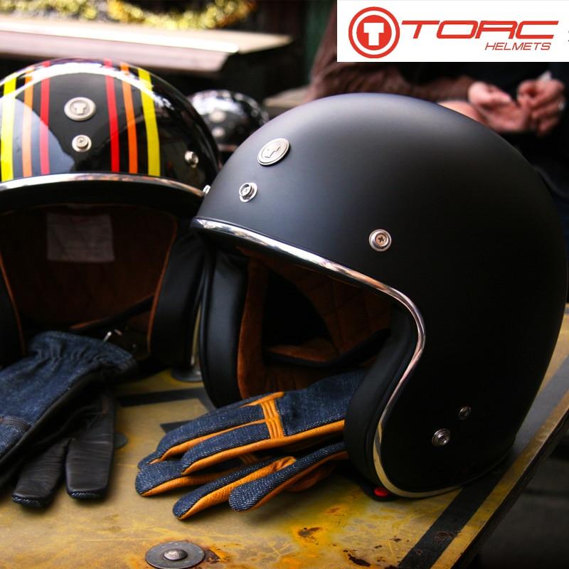 TORC T50 Vintage helmet Motorcycle 3/4 Open Face Retro Man Woman Scooter Helmets casco moto capacete de moto DOT