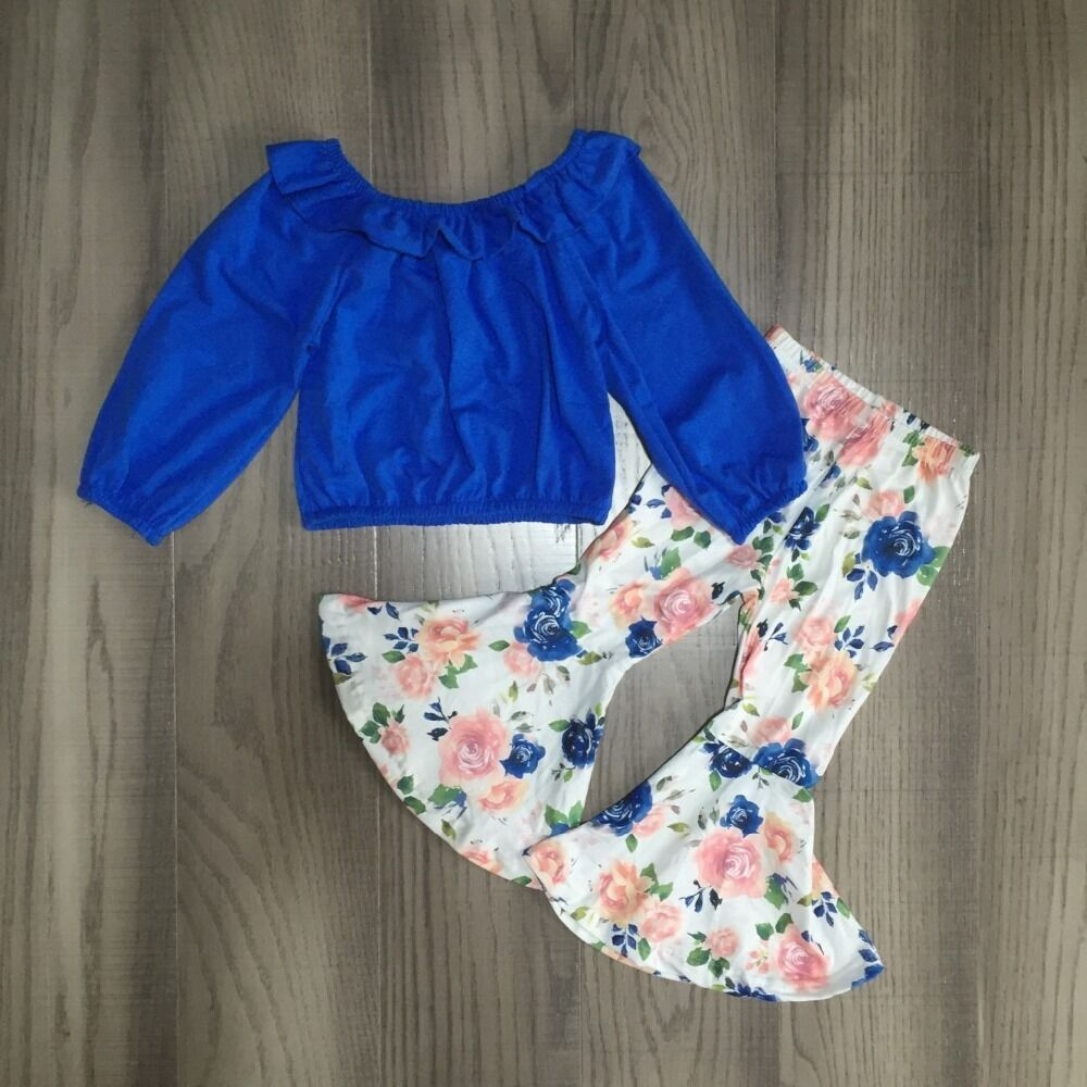 Ropa de bebé niña raglán azul sólido con campana floral pantalones inferior niña otoño conjunto