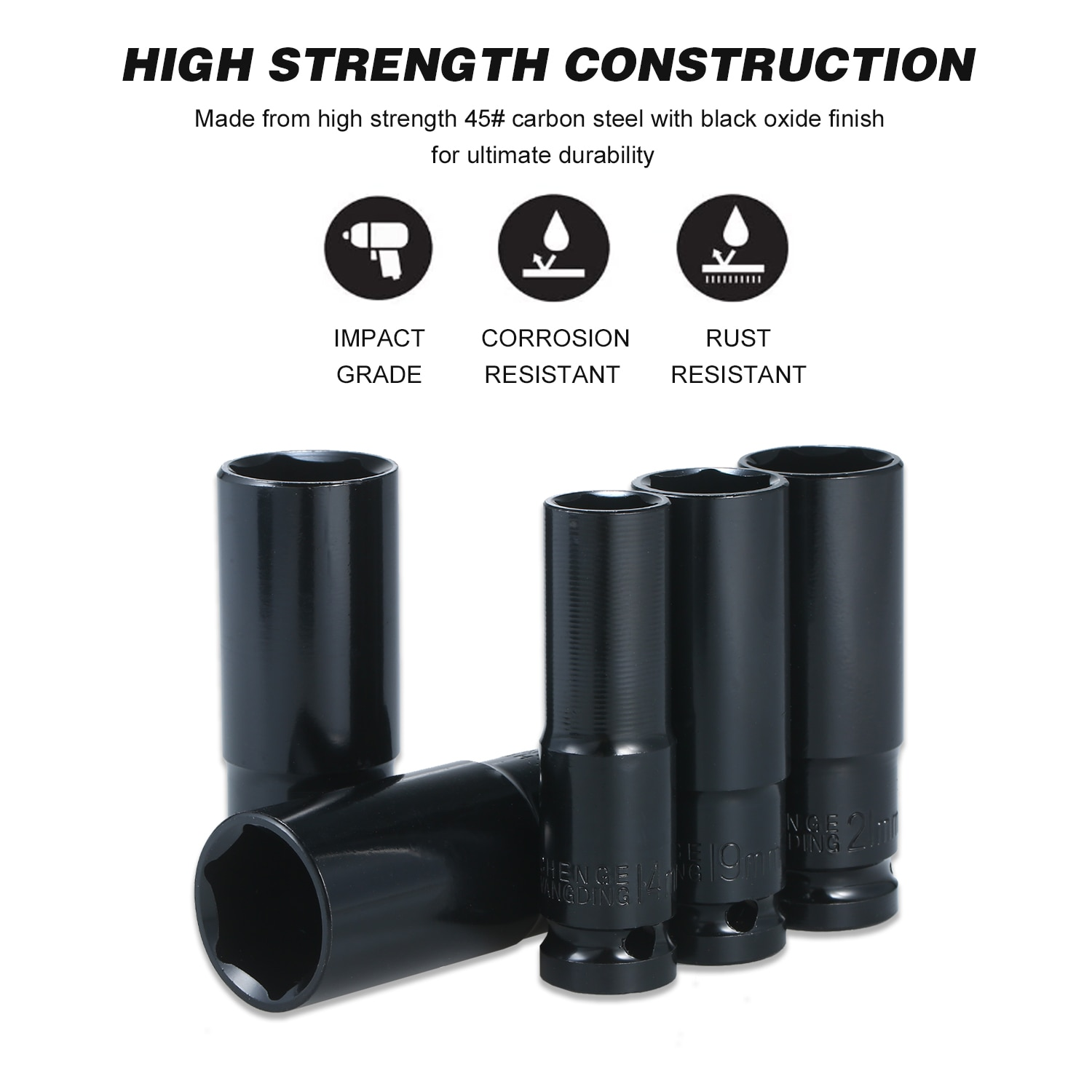 1/2Inch Drive 6-Point Impact Socket Set 10-Piece Metric Sizes 10-24mm Carbon Steel with Hard Storage Box Long Service Time enlarge