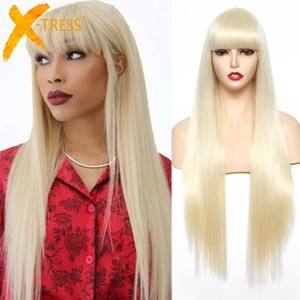Long Straight Blonde Color Synthetic Wigs For White Women 28inches Machine Made Hair Wig With Bangs Cosplay Party Use X-TRESS