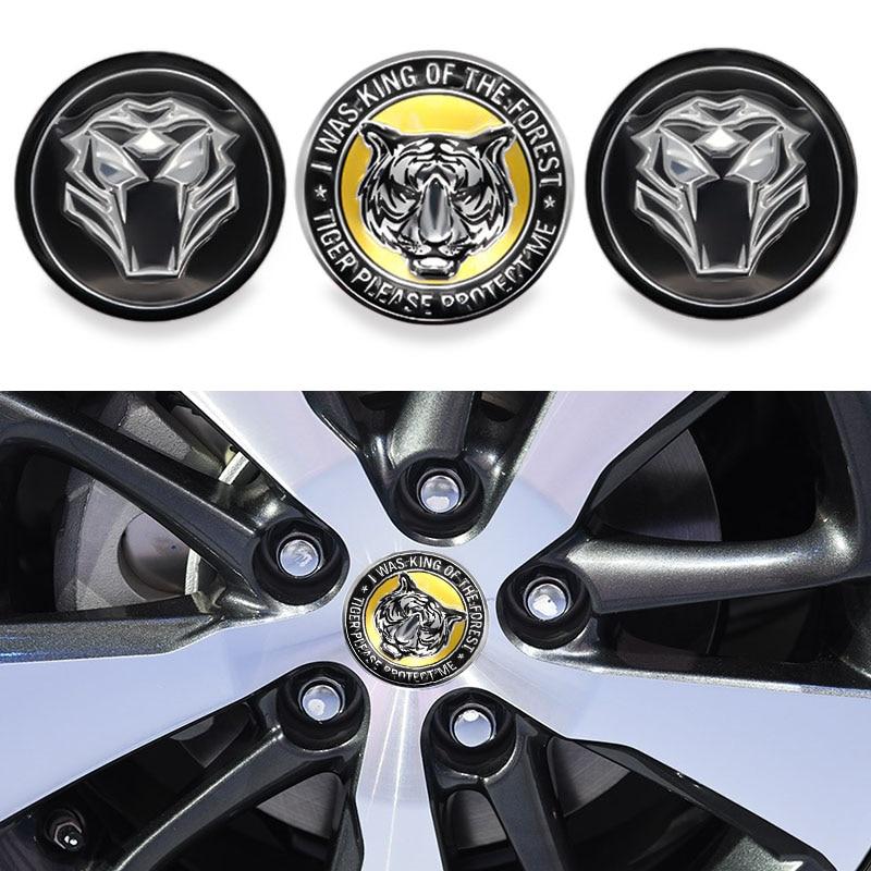 Car accessories 4pcs 65mm wheel hub center sticker cover badge Tiger head- LOGO modification stickers