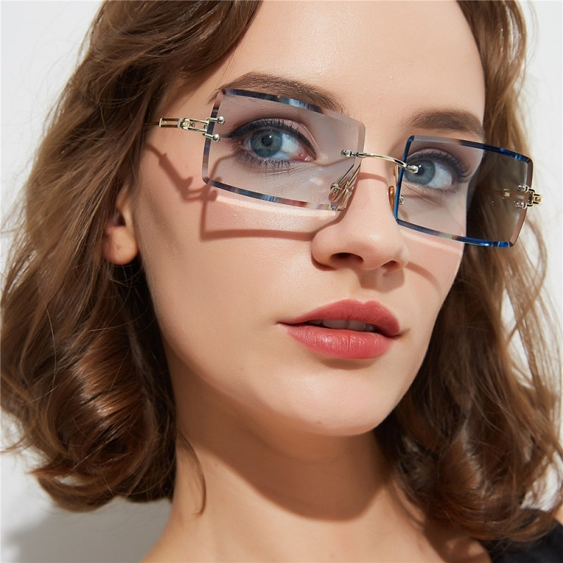 Summer  Women Sunglasses Retro Small Rectangle Rimless Square Sun Glasses Style Female  Green Blue