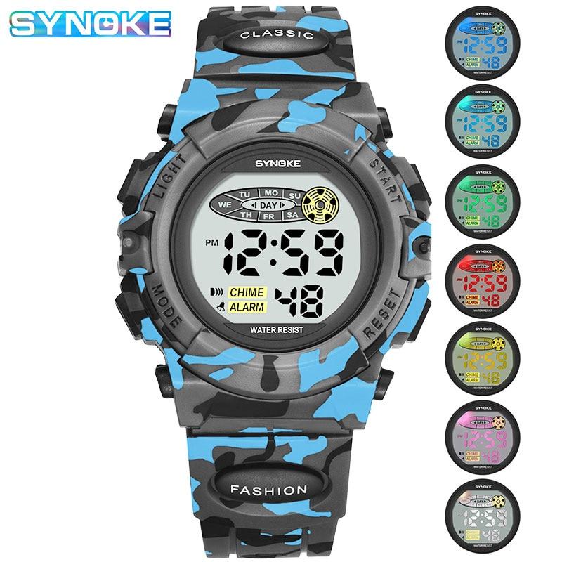 Детские часы SYNOKE, цифровые спортивные камуфляжные военные часы для детей, развивающие часы