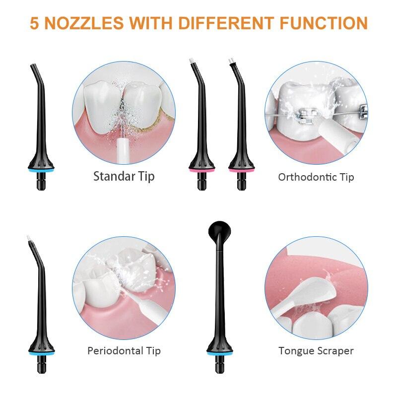 5 طرق عن طريق الفم الري USB قابلة للشحن المياه الخيط المحمولة جهاز تخليل الأسنان بالماء جيت 300 مللي الري الأسنان نظافة الأسنان + 6 Jet