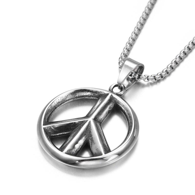 Collar moderno de acero inoxidable con colgante de círculo de la paz para mujer y hombre, collar de cadena de la paz mundial a la moda