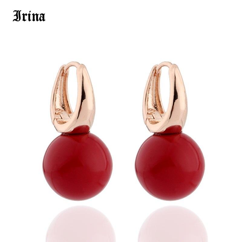 ¡Novedad de 585! pendientes largos de perlas redondas de Color rosa y dorado para fiestas de niñas, joyería de pendientes largos simples y nobles de ironina