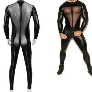 Sexy Men PVC Leather Mesh Full Body Bodysuit Wet Look Sheer Butt Long Sleeve Catsuit Underwear Gay Fetish Costume Plus Size XXXL