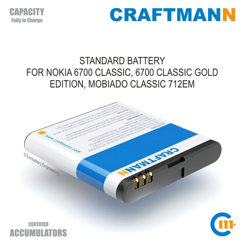 Batería Craftmann (Li-ion, 890mAh) para Nokia 6700 CLASSIC, edición 6700 CLASSIC GOLD, MOBIADO CLASSIC 712EM (BSL-11, BL-6Q)