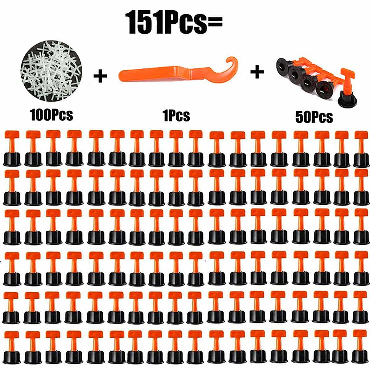 151 ks vodorovných klínů pro podložky na dlaždice pro podlahové dlaždice