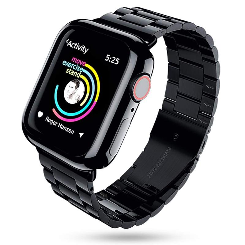 Pulsera de acero inoxidable + funda para apple watch 5/4/3/2 banda 44mm 42mm 40mm 38mm Correa iwatch funda protectora de pantalla correa de reloj