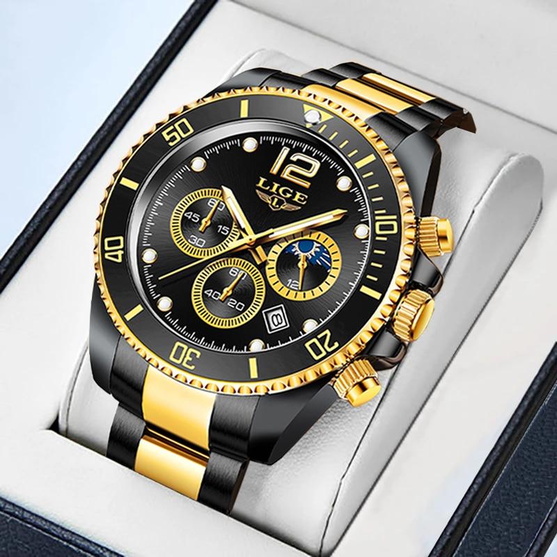 LIGE رجالي ساعات العلامة التجارية الفاخرة موضة الأعمال ساعة رجالية الفولاذ المقاوم للصدأ مقاوم للماء ساعة اليد Relogio Masculino + صندوق