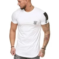 sik silk 2021 summer new mens stand up collar short sleeved personality solid color design breathable mens t shirt top