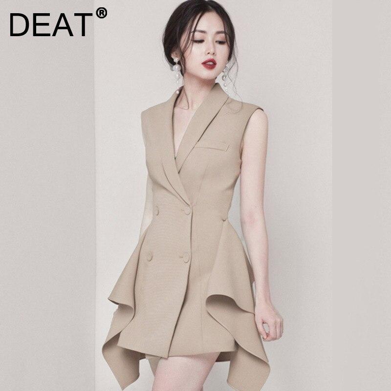 DEAT 2021 جديد الصيف الخريف موضة عادية بسيطة أكمام العميق الخامس الرقبة ضئيلة مزدوجة الصدر غير النظامية فستان المرأة SL046