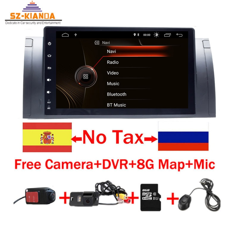 "9 ""1024x600 HD сенсорный экран 1 din Android 9,1 Автомобильный мультимедийный Радио стерео для BMW E39 E53 X5 gps Wifi 4G Bluetooth dvd-плеер RDS USB"