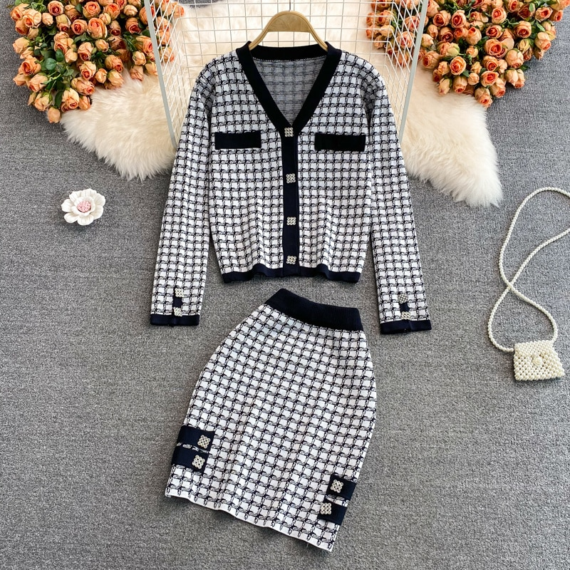 Girl Fashion Thousand Bird Lattice Short Coat And Mini Short Bodycon Knitted Skirt Women France Knitted Clothes Two-piece Suit