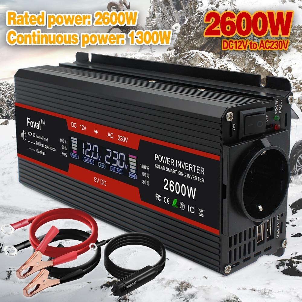 Car Solar DC 12V/24V 1500W/2000W/2600W  LCD display EU socket Modified Sine Wave Adapter dual 3.1A USB Power inverter