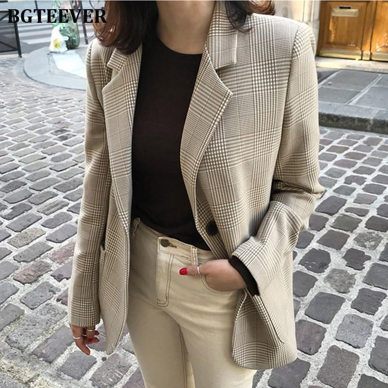 Mulheres Casaco Xadrez Blazer do vintage Houndstooth Pattern Single-breasted Terno Feminino Blaser Outwear Jaquetas 2019 Outono Solta Femme