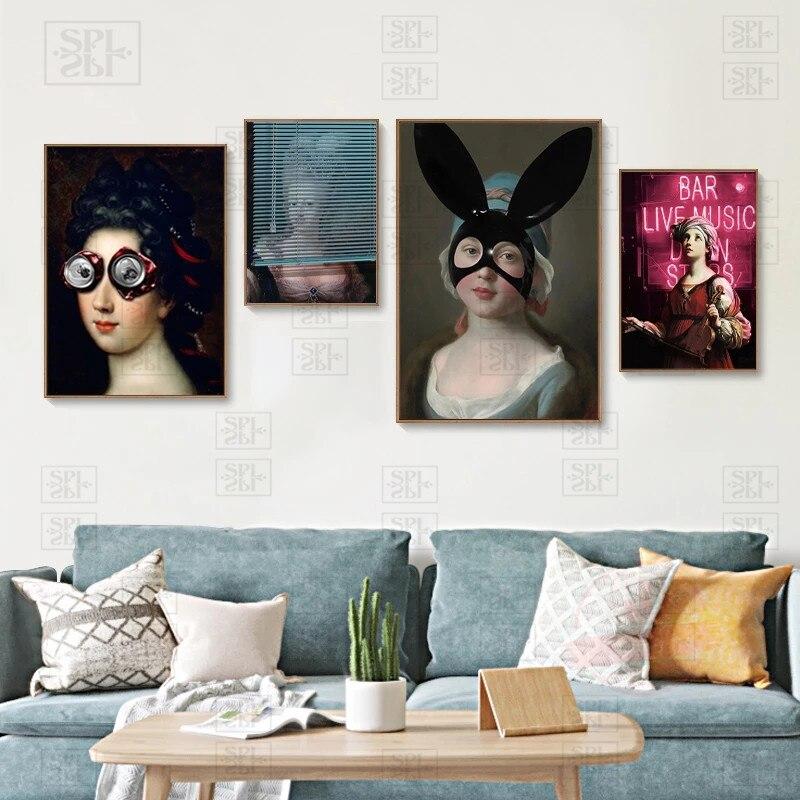 Забавные постеры заячьи ушки Картина на холсте «женщина» Современная отделка спален чужеродный шлем настенная Художественная печать карт...