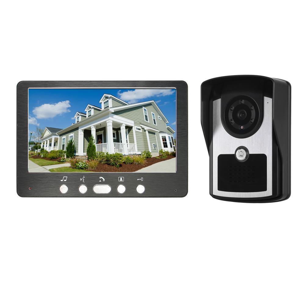 """7 """"vídeo porta telefone campainha intercom sistema 1 monitor 1 câmera com visão noturna infravermelha"""