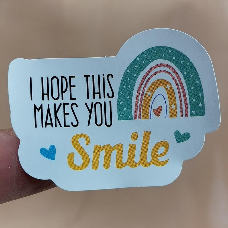 120 элемента в комплекте, я надеюсь, что это вызывает улыбку Спасибо наклейки этикетки для печати Радуга прямоугольник зеркала настенные сти...