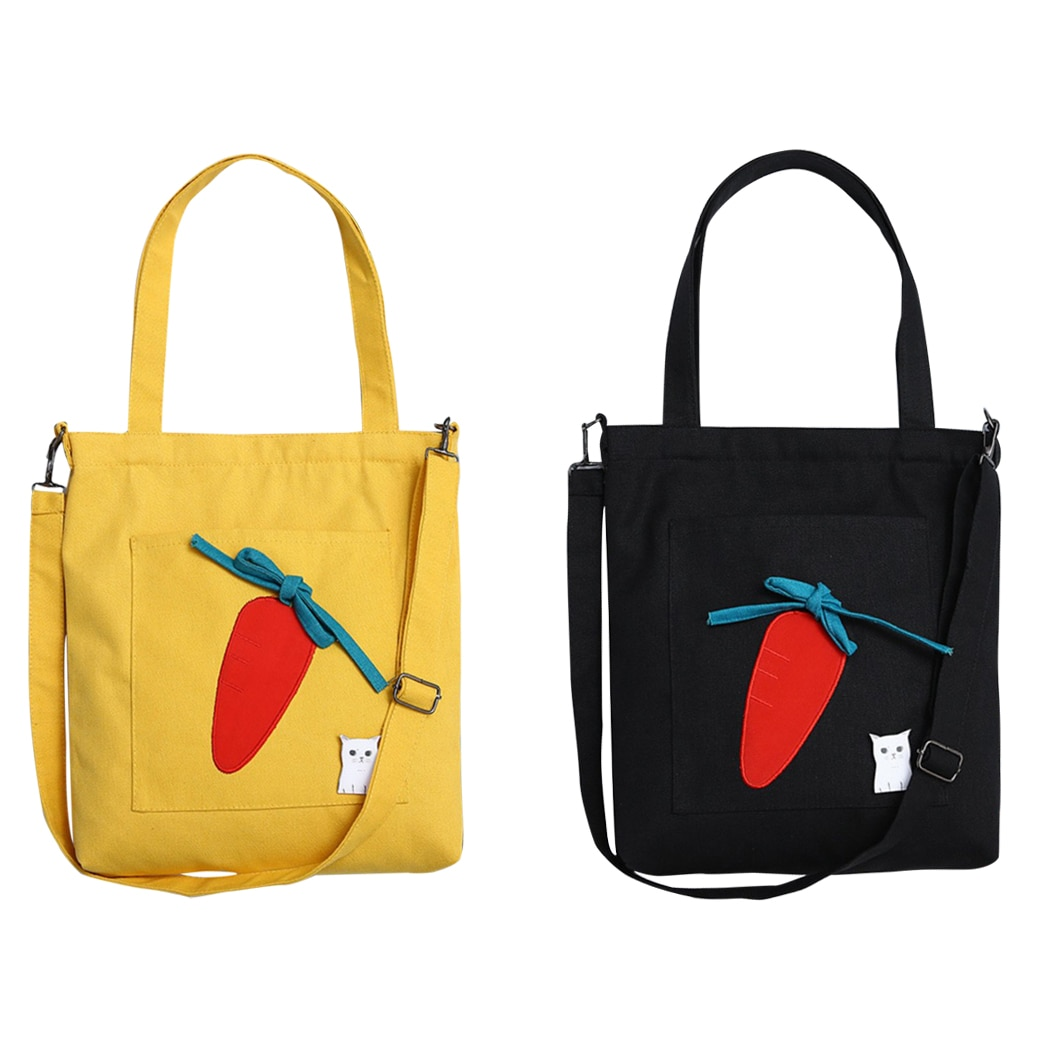 Bolsos de hombro de lona zanahoria bonita para mujer bolso de mensajero Casual de moda bolsos de bandolera monederos bolso Casual para mujer