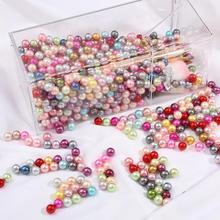 50pcs 10mm sans trou acrylique ABS perle ronde perles de perles pour le marquage de bijoux perles entretoises en vrac Bracelet collier boucle doreille breloque