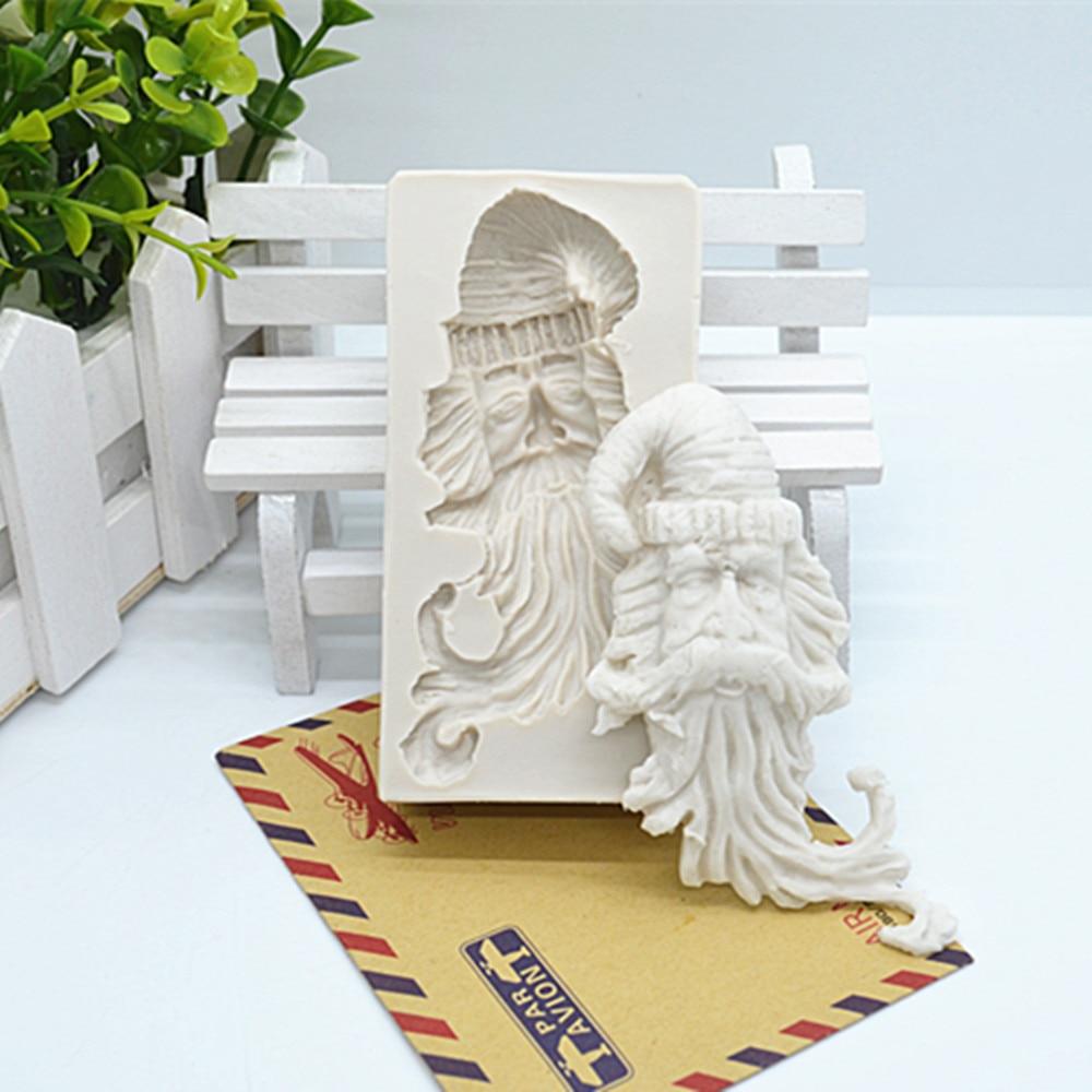 3D формы для торта с Санта-Клаусом, помадки, инструменты для украшения тортов, силиконовые формы из смолы, аксессуары