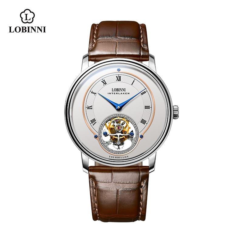 Lobinni-ساعة ميكانيكية للرجال ، ماركة فاخرة ، توربيون ، هيكل عظمي ، أعمال ، مقاومة للماء ، 8882