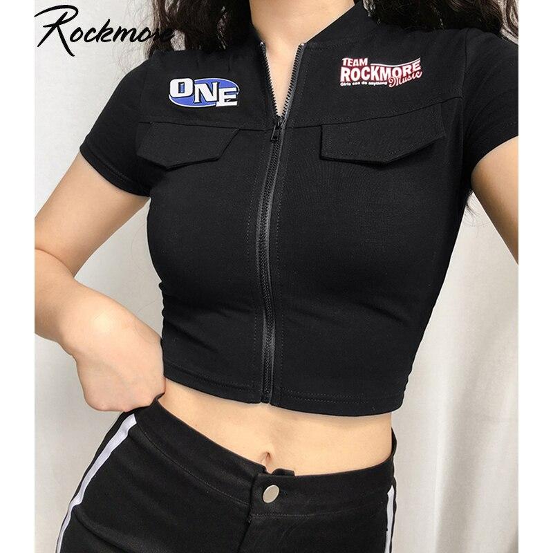 Chaquetas Rockmore Punk para mujer con bolsillos con letras y cremallera, prendas de vestir de manga corta para mujer, chaquetas de motociclista ajustadas de verano