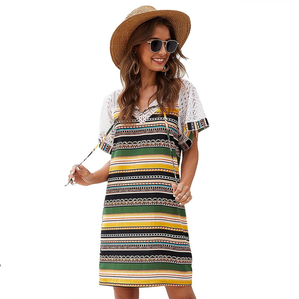 Stripe Lace Mini Dress Women's Hollow Out National With Short-Sleeved Dress Leisure Commute Stripe Chiffon Dress Vestidos Verano