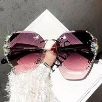 2021 new fashion womens oversized frameless square popular sunglasses women mens brand design glasses gradient sunglasses