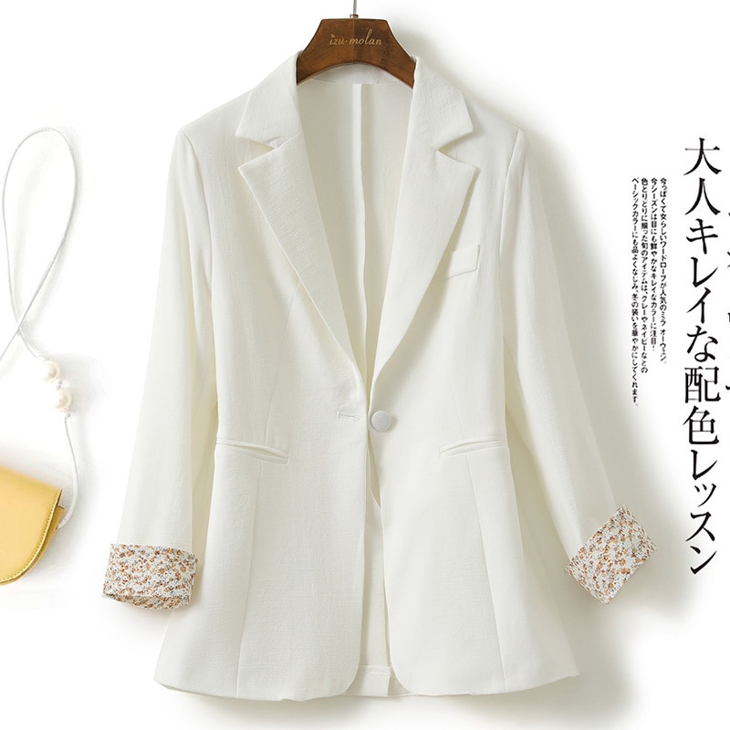 White In Thin Section Suit Jacket For Women 2021 Summer New Korean Style Slim-Fit Floral Cuff Design
