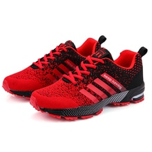 Men's Breathable Mesh Sneakers Stripe Flying Knit Air Cushion Shoes Outdoor  Couple Running Shoes Za