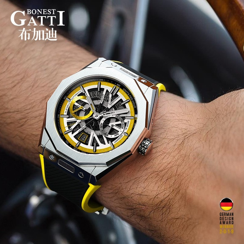 GATTI-ساعة رياضية ميكانيكية للرجال ، مقاومة للماء ، أوتوماتيكية ، بسوار جلدي ، إكسسوار سوار ، 2020