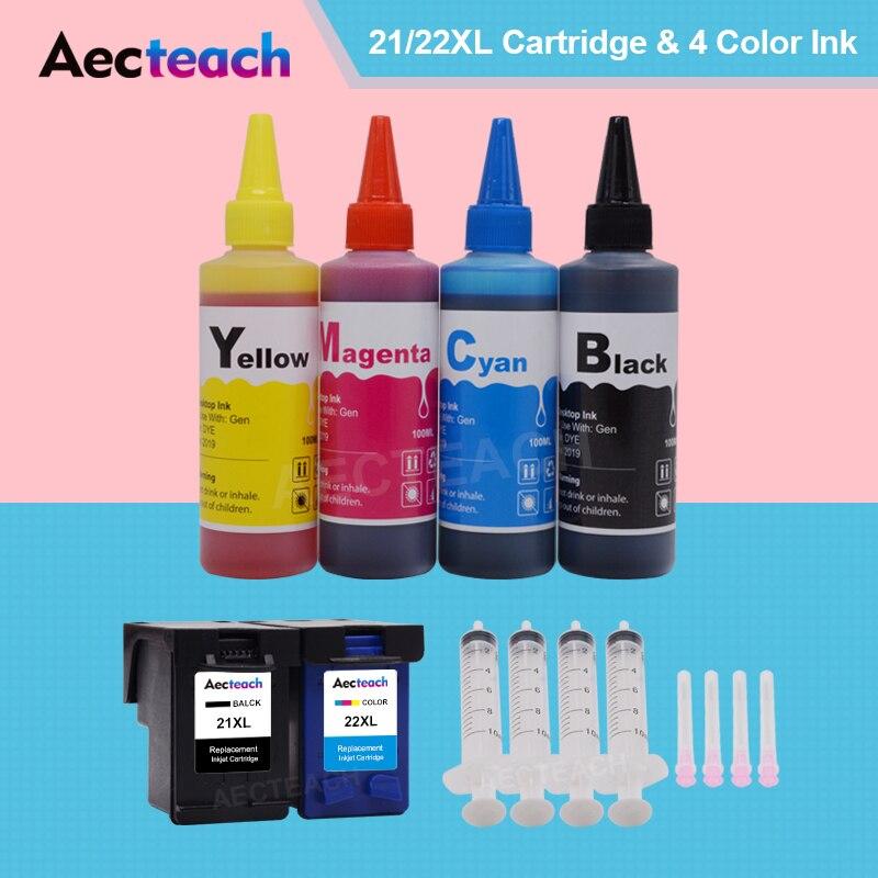 Remanufactura de cartucho de tinta Aecteach para HP 21XL 22XL para HP Deskjet F380 380 D2300 D2345 D2360 impresoras + tinta para impresora 400ml