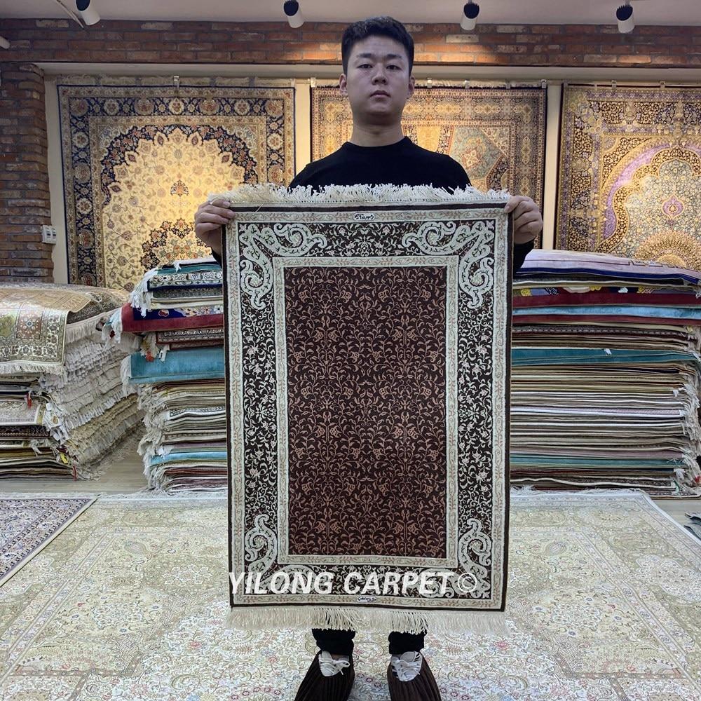 Yilong-سجادة qum صناعة يدوية ، حجم صغير ، جدار إلى حائط ، حرير ، 2 × 3 بوصة ، HF120B