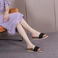 fashion womens summer beach cork slippers weave non slip slides female flip flops ladies sandals comfortable home women shoes