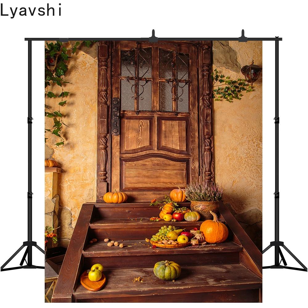 Fondo fotográfico Lyavshi Halloween otoño calabazas retro puerta de madera fondo de otoño foto photoshoot estudio props