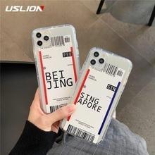 Funda para teléfono con etiqueta de código de barras de USLION Air Tickets para iPhone 11 11 Pro Max Xs Max XR X 7 8 Plus funda trasera de silicona TPU suave transparente
